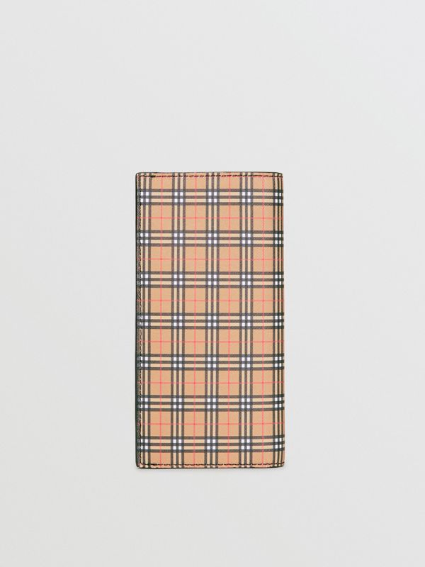 Small Scale Check and Leather Continental Wallet in Antique Yellow/black - Men | Burberry United Kingdom - cell image 2