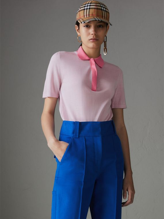 コントラストカラー シルクカシミア ポロシャツ (ペールライラック)