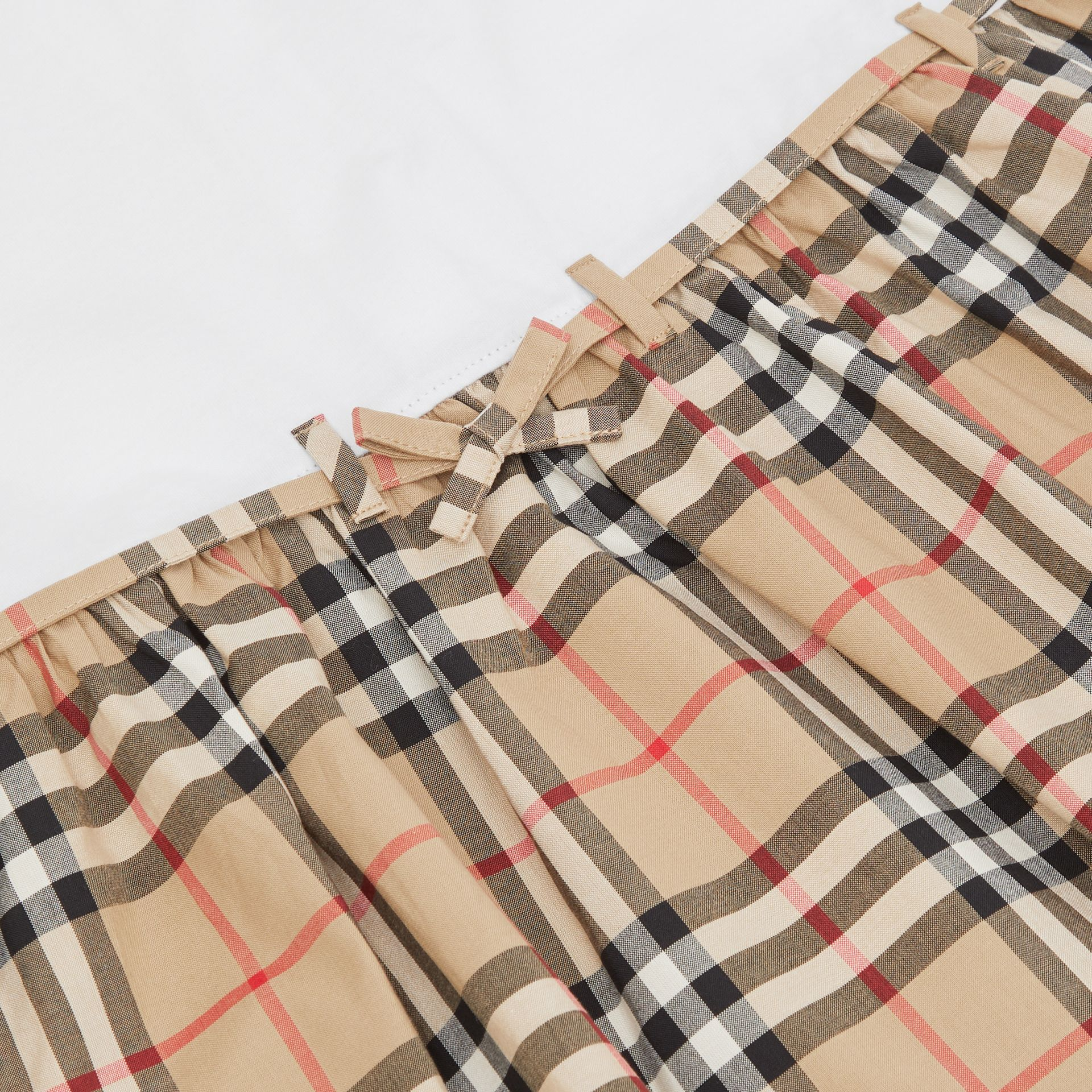 Vintage Check Detail Cotton Dress in White | Burberry - gallery image 1