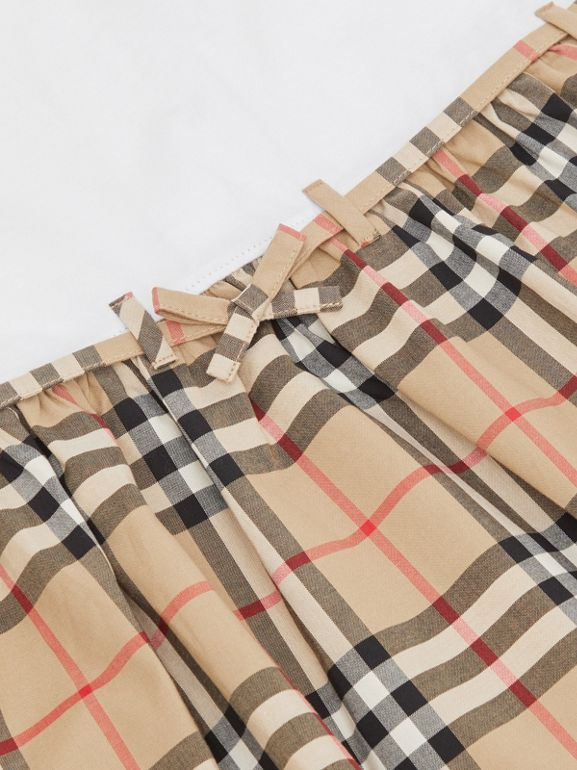 Vintage Check Detail Cotton Dress in White | Burberry - cell image 1