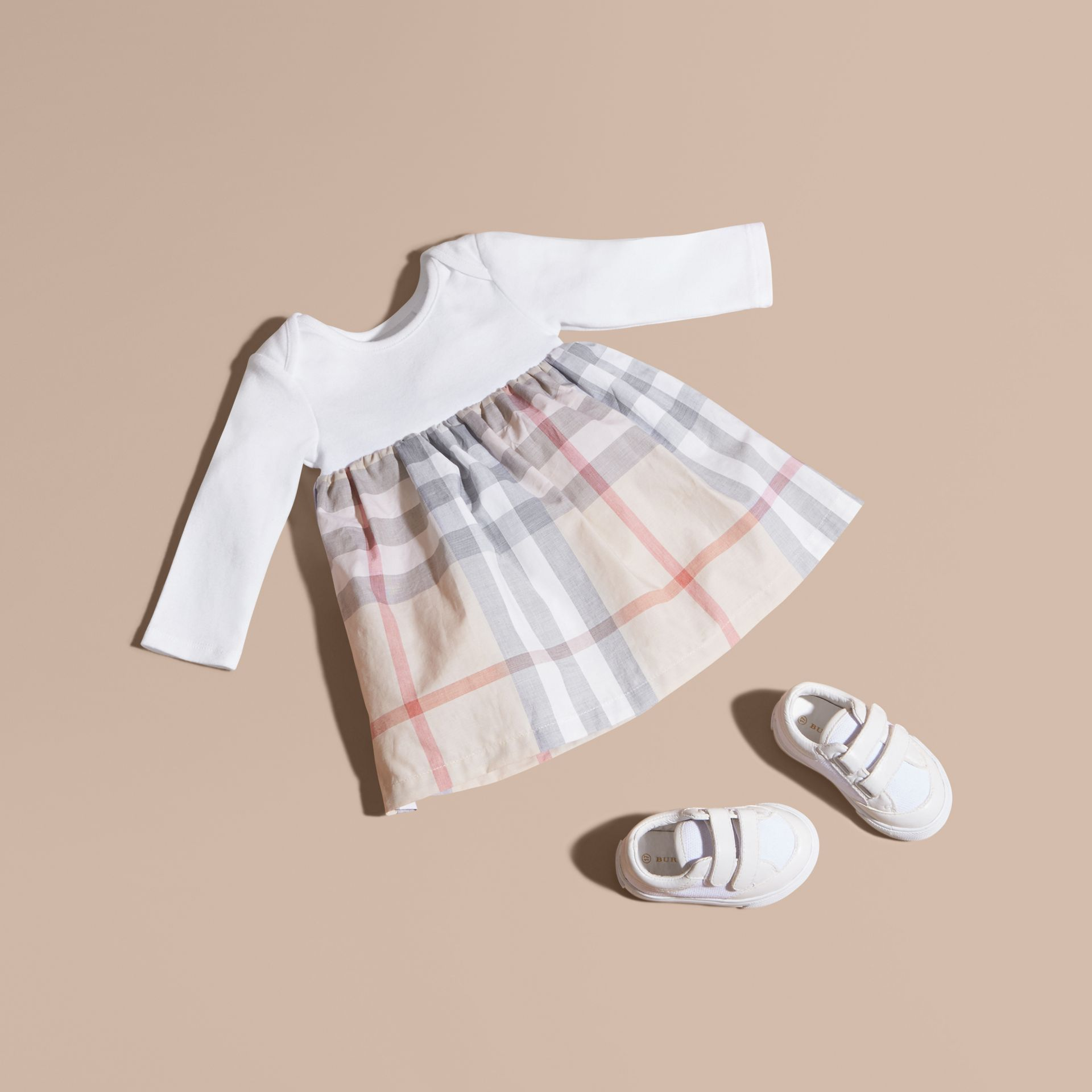 Pale stone Cotton Check Dress - gallery image 1