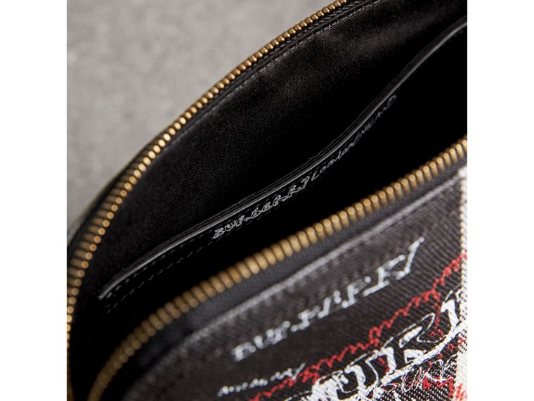 Large Zip-top Doodle Print Coated Canvas Check Pouch in Black/white - Women | Burberry United Kingdom - cell image 4