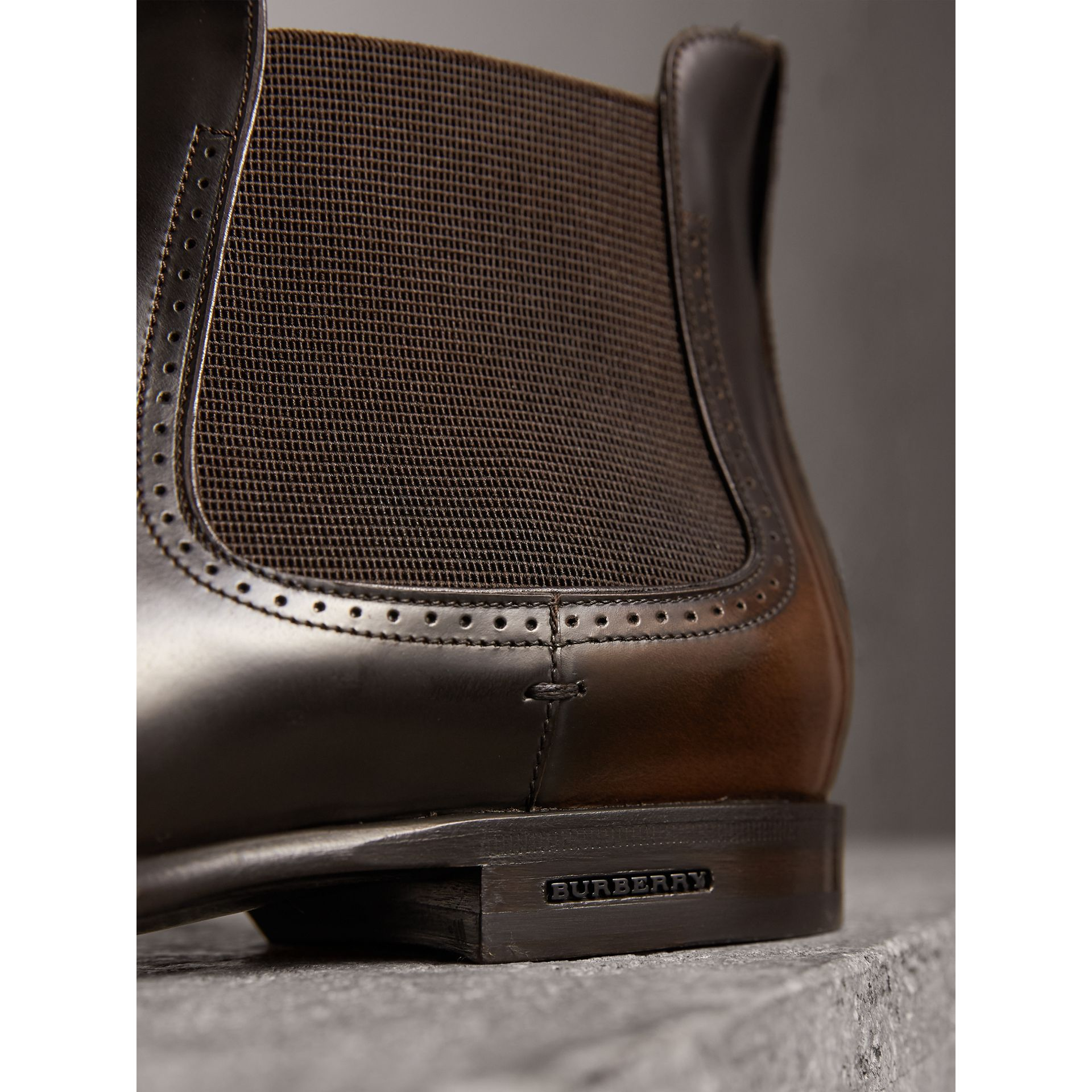 Perforated Detail Leather Chelsea Boots in Chocolate Brown - Men | Burberry Hong Kong - gallery image 2