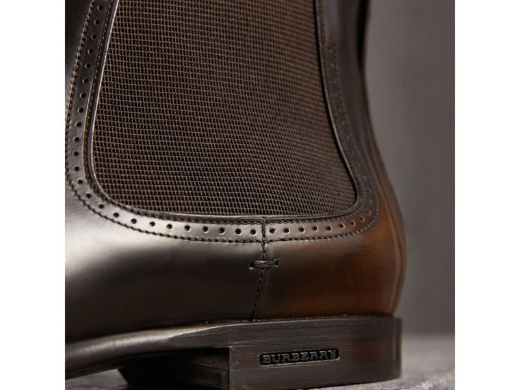 Perforated Detail Leather Chelsea Boots in Chocolate Brown - Men | Burberry Hong Kong - cell image 1