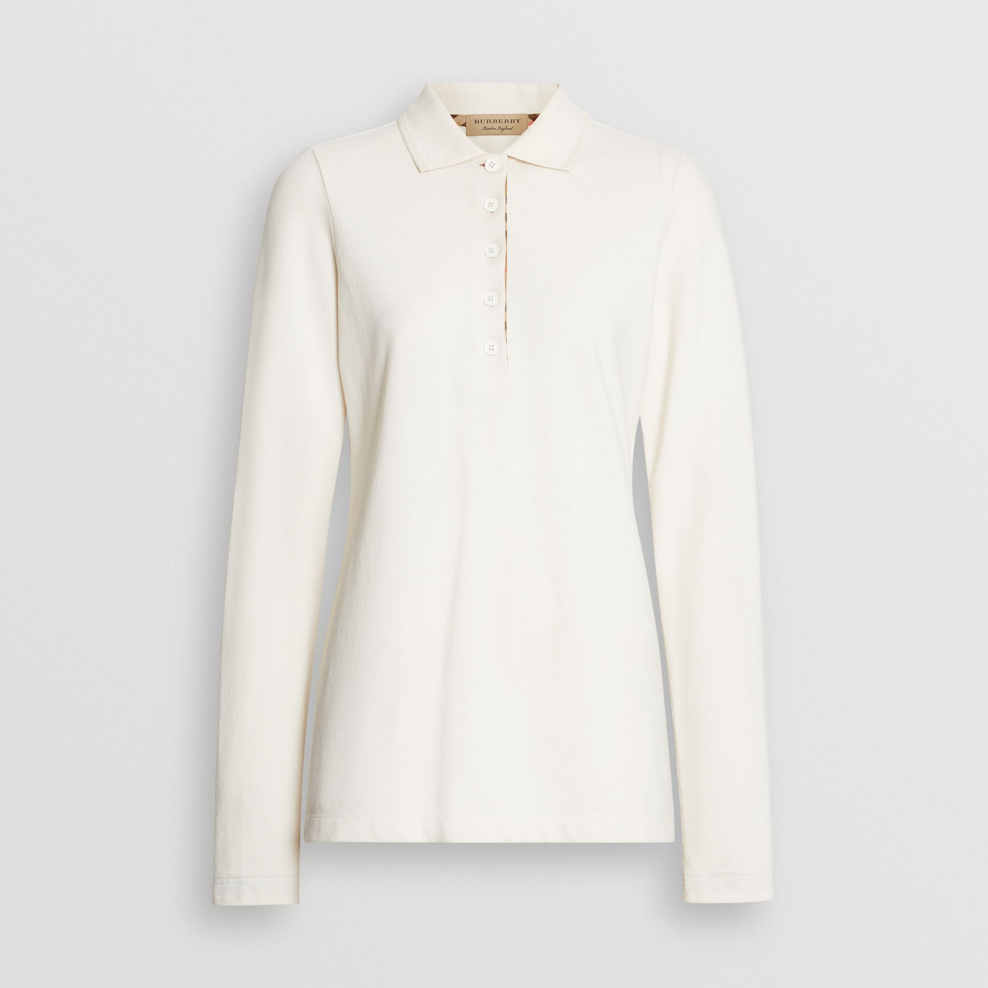 Long-sleeve Check Placket Cotton Piqué Polo Shirt in Ivory - Women | Burberry Singapore - gallery image 2