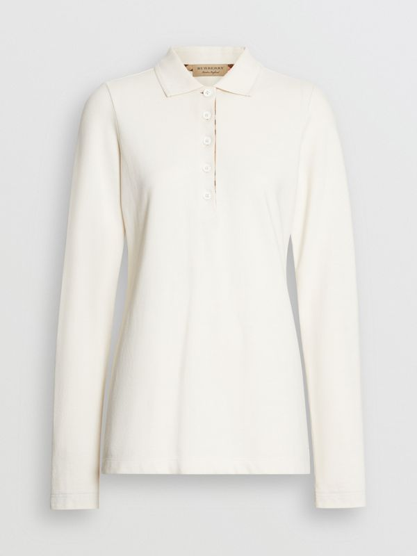 Long-sleeve Check Placket Cotton Piqué Polo Shirt in Ivory - Women | Burberry United Kingdom - cell image 2
