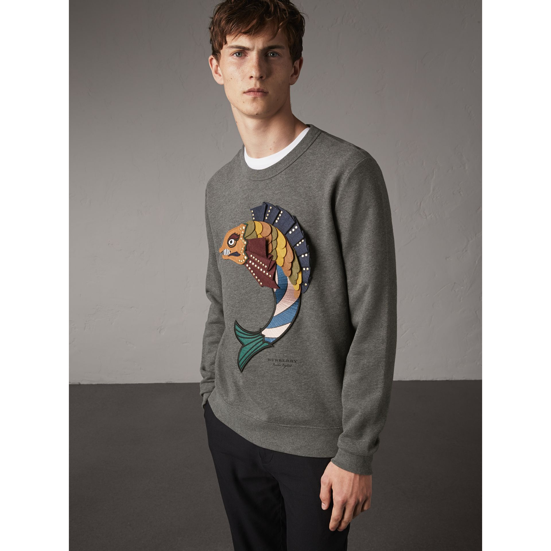 Beasts Appliqué Cotton Sweatshirt in Mid Grey Melange - Men | Burberry - gallery image 5