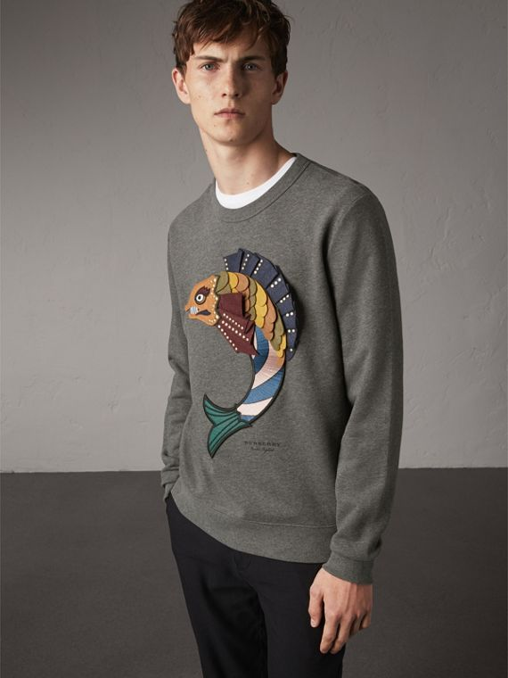 Beasts Appliqué Cotton Sweatshirt in Mid Grey Melange