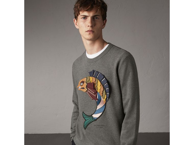 Beasts Appliqué Cotton Sweatshirt in Mid Grey Melange - Men | Burberry - cell image 4