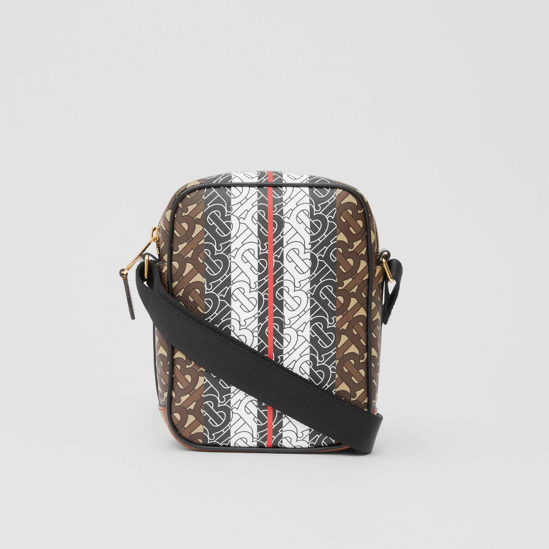 Monogram Stripe Print E-canvas Crossbody Bag in Bridle Brown - Men | Burberry United Kingdom - gallery image 7