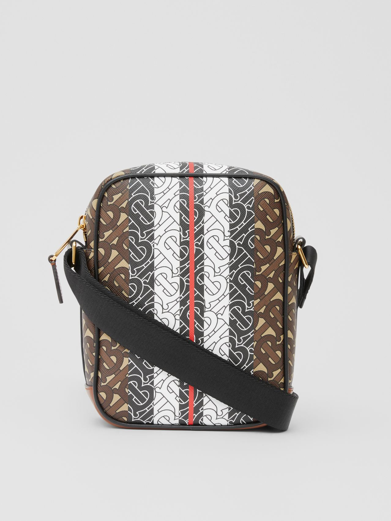 Monogram Stripe Print E-canvas Crossbody Bag (Bridle Brown)