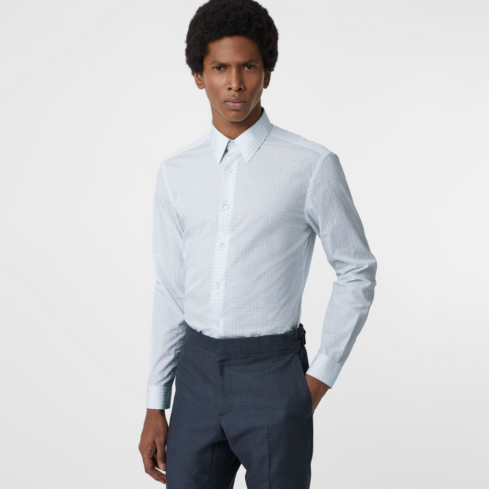 Slim Fit Check Cotton Poplin Shirt in City Blue - Men | Burberry Canada - gallery image 0