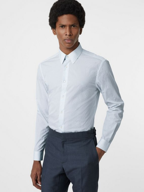 Slim Fit Check Cotton Poplin Shirt in City Blue