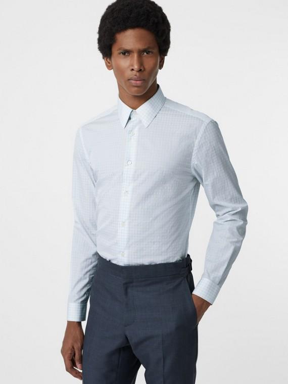 Camisa de popeline de algodão com estampa xadrez e corte slim (Azul Urbano)