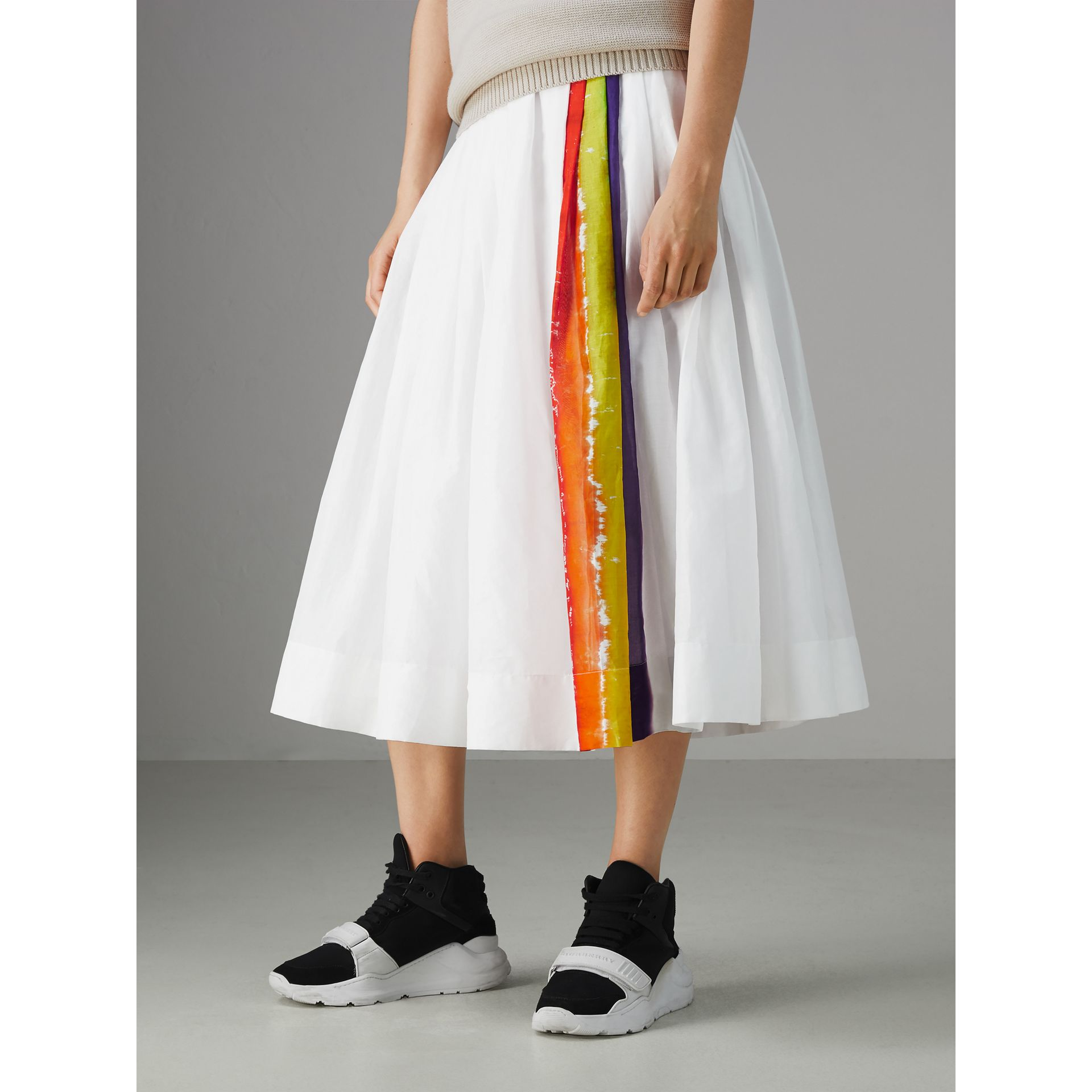 Rainbow Print Organdie Cotton Skirt - Women | Burberry - gallery image 4