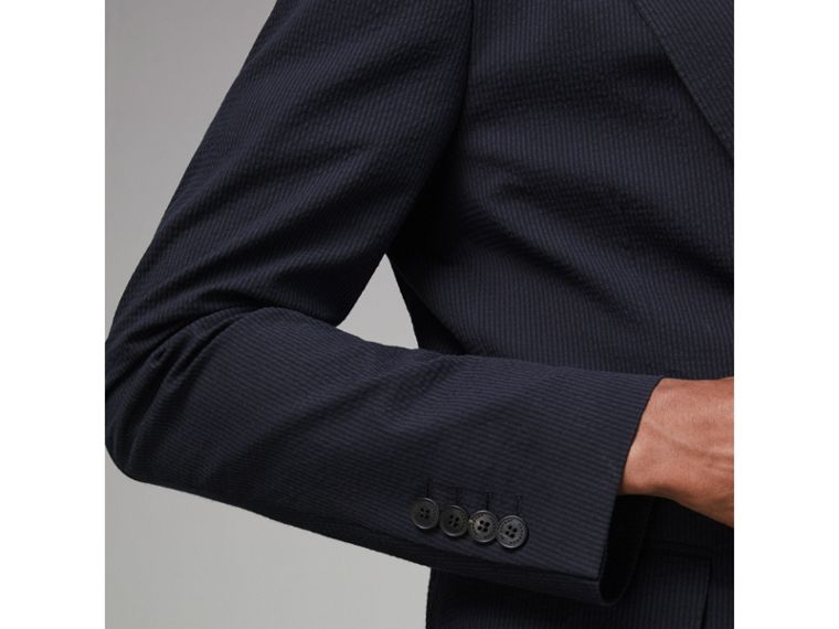 Soho Fit Cotton Silk Seersucker Suit in Navy - Men | Burberry - cell image 4