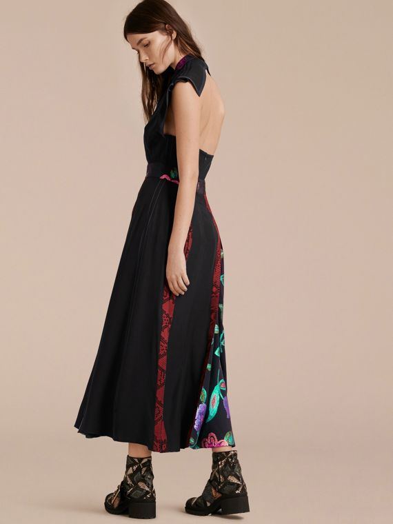 Black Silk Dress with Floral and Python Print Panels - cell image 2