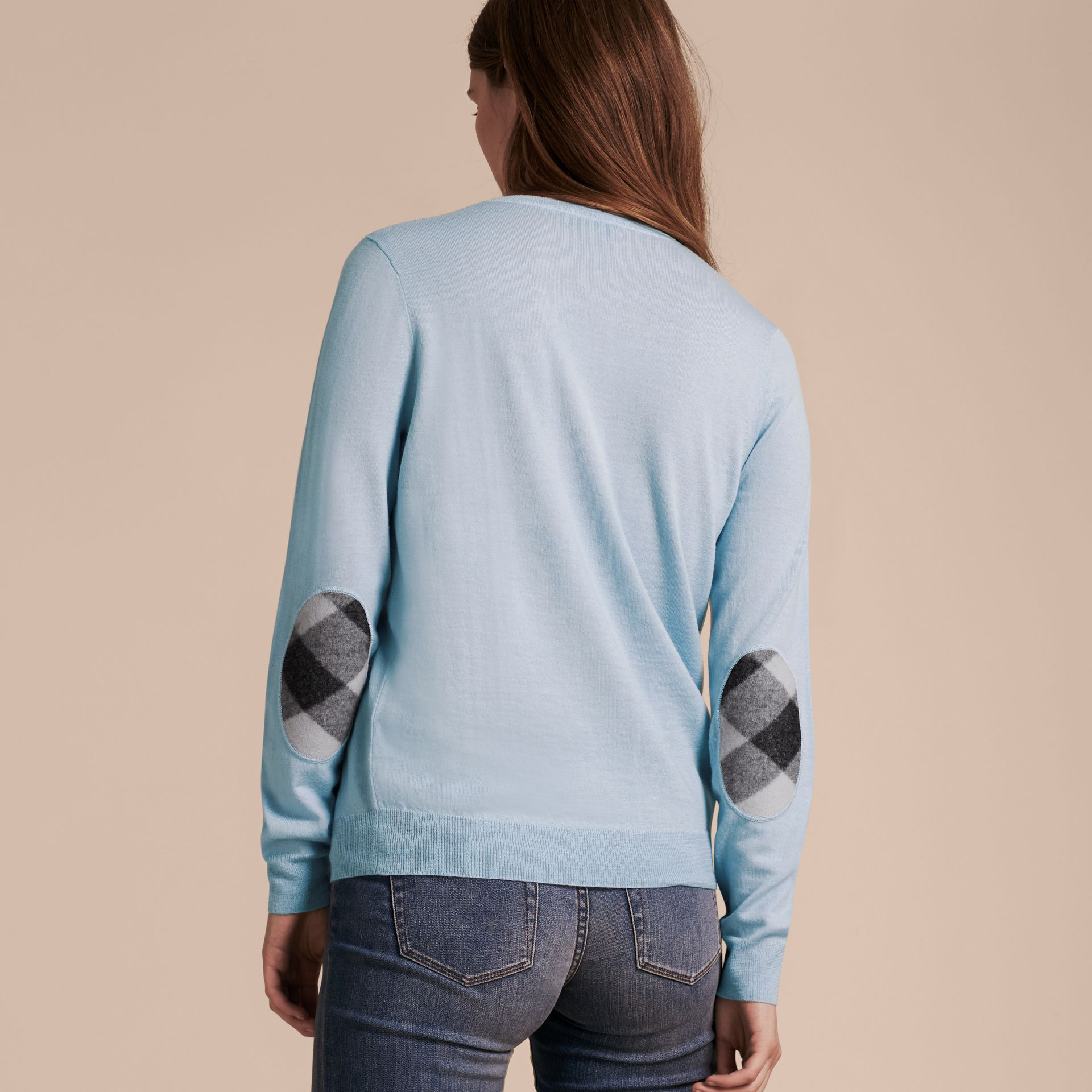Pale cornflower blue Check Detail Merino Crew Neck Sweater Pale Cornflower Blue - gallery image 3