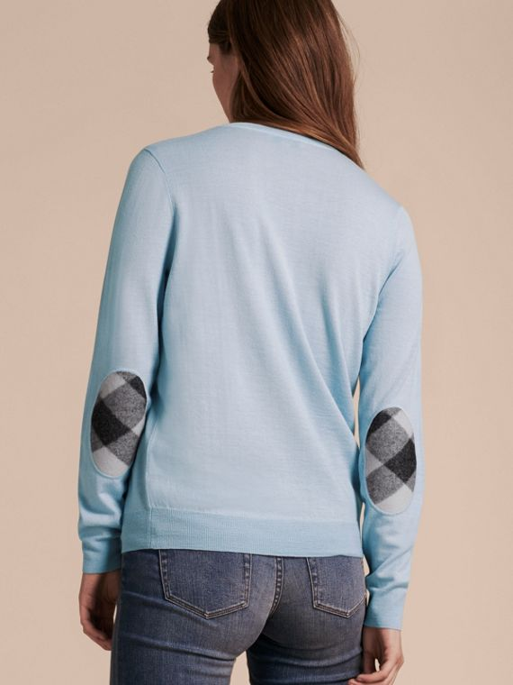 Pale cornflower blue Check Detail Merino Crew Neck Sweater Pale Cornflower Blue - cell image 2