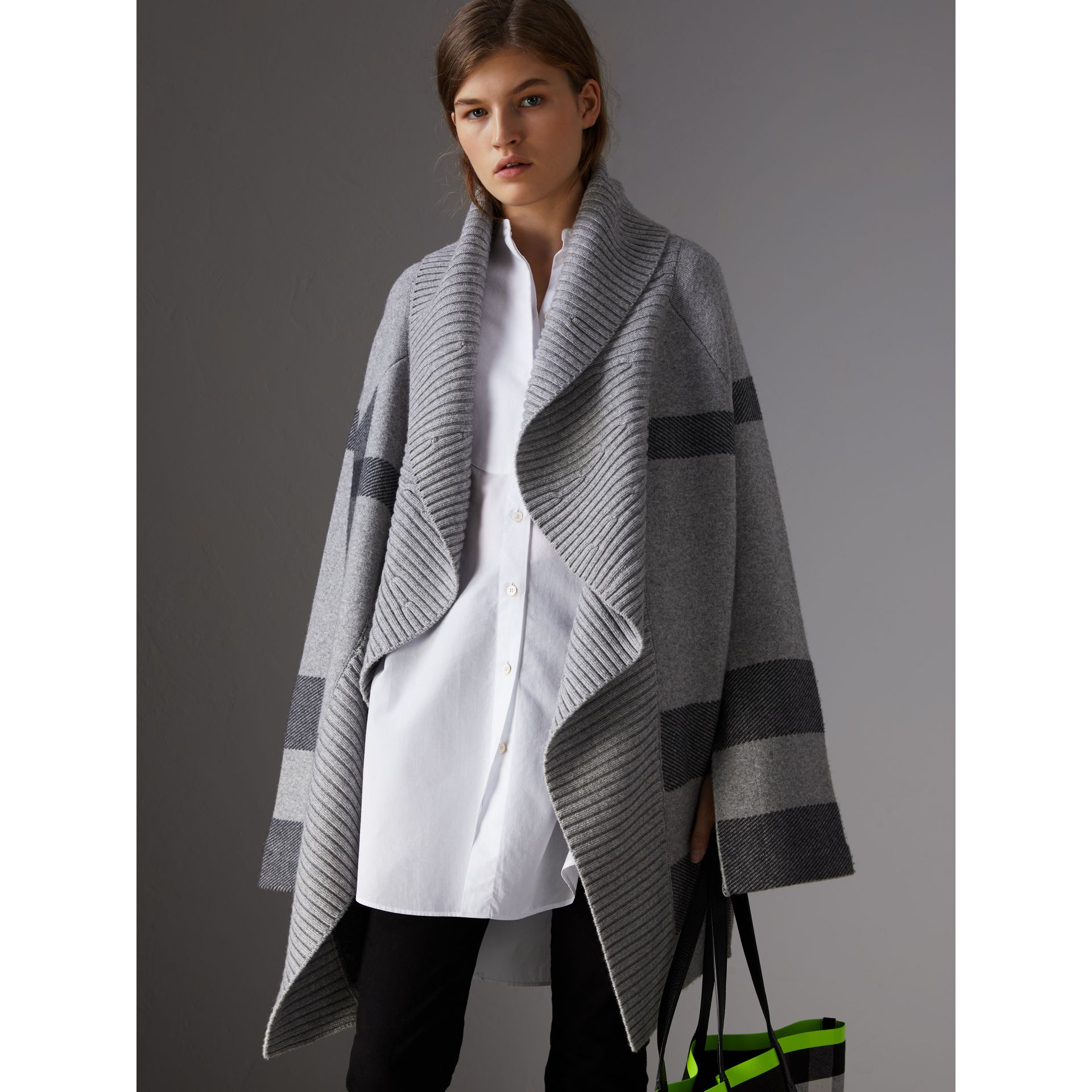 Check Wool Cashmere Blend Cardigan Coat in Pale Grey Melange - Women | Burberry Australia - gallery image 0