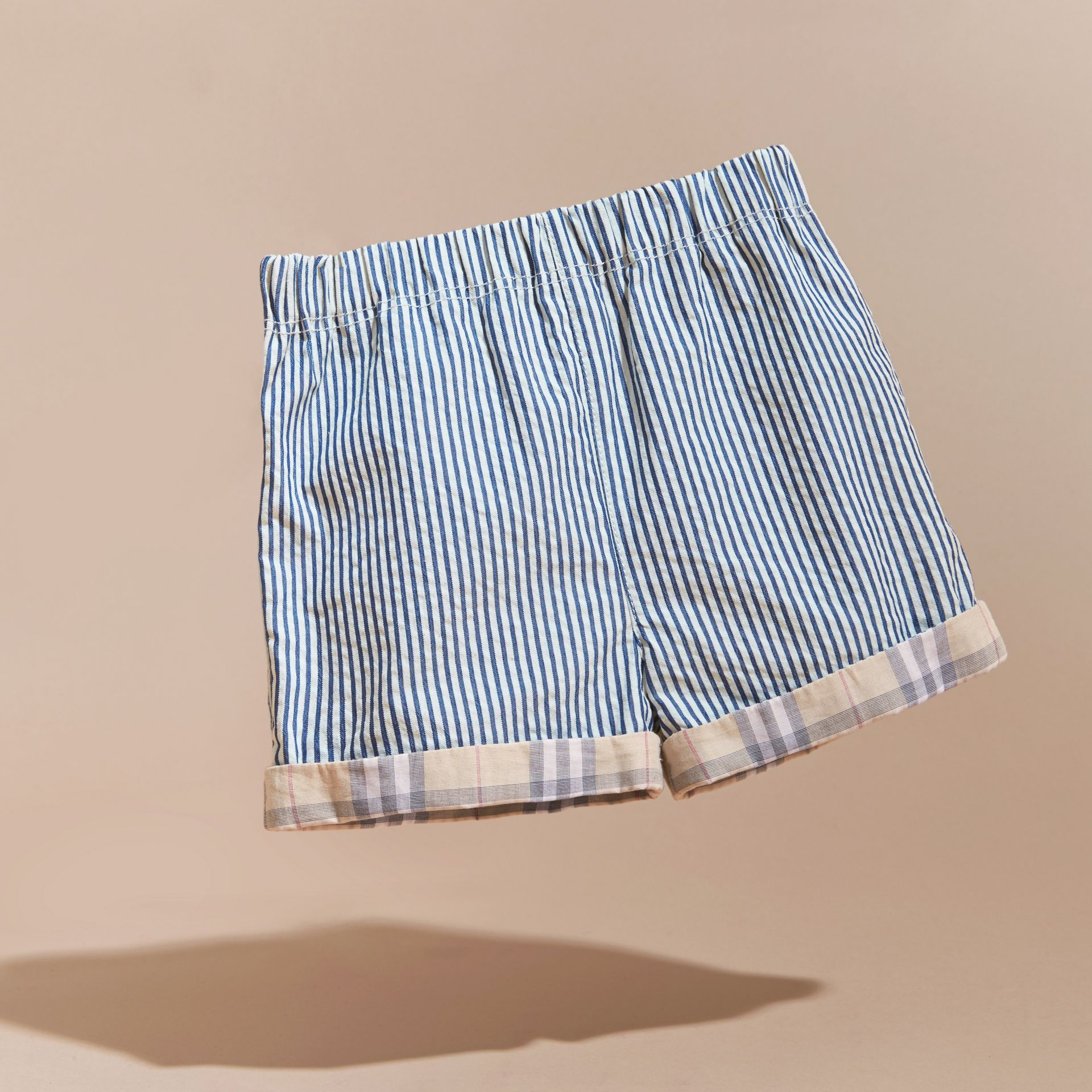 Striped Cotton Blend Shorts with Check Cuffs | Burberry - gallery image 3