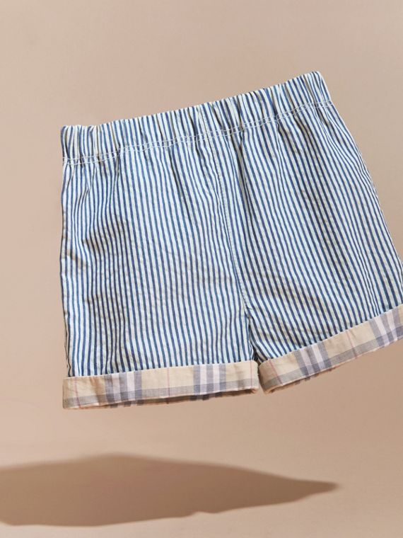 Striped Cotton Blend Shorts with Check Cuffs | Burberry Australia - cell image 2