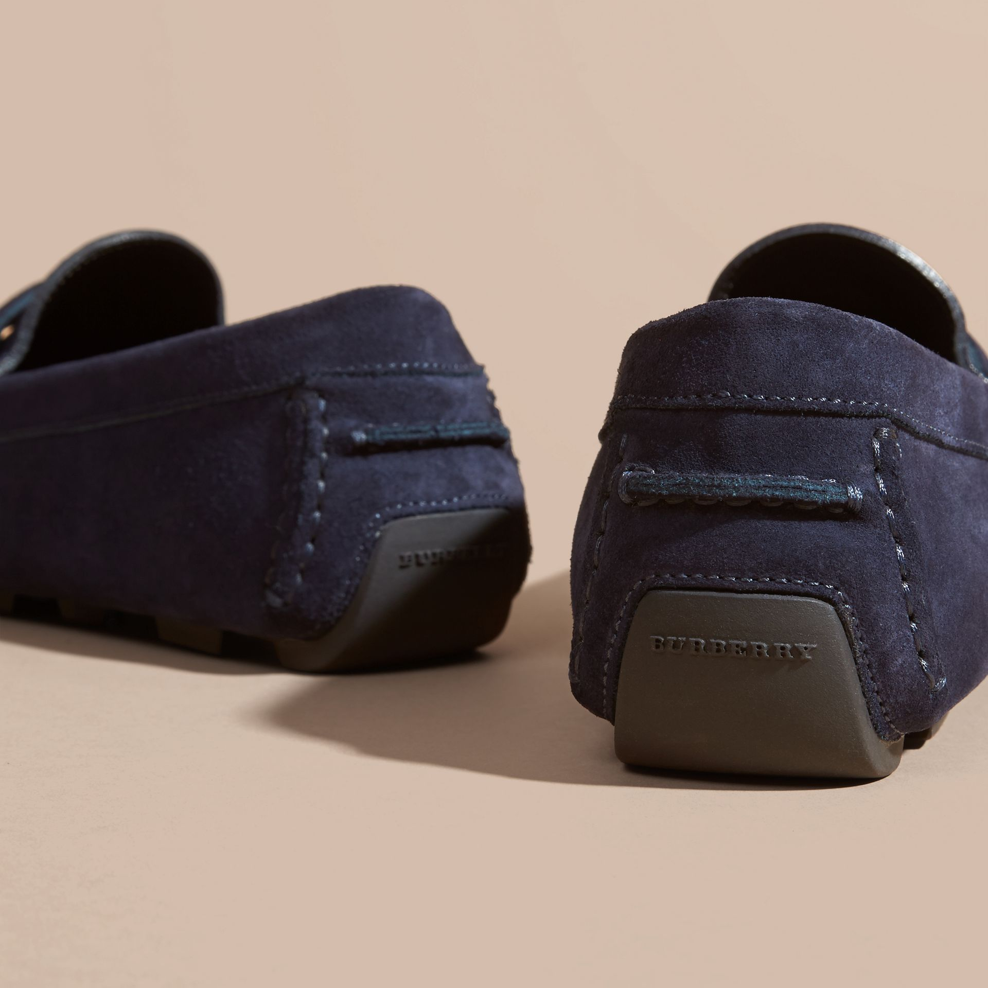 Dark navy Suede Loafers with Engraved Check Detail - gallery image 4
