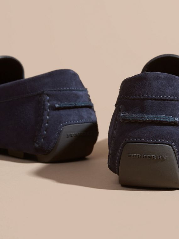 Dark navy Suede Loafers with Engraved Check Detail - cell image 3