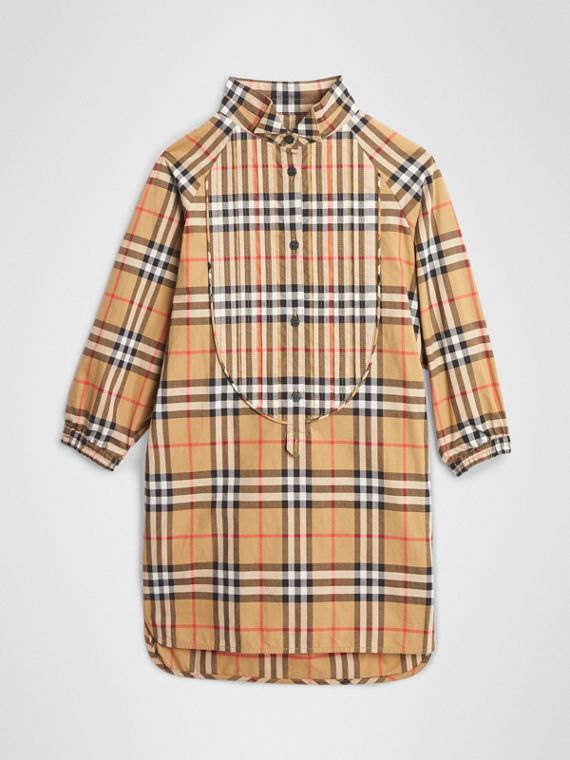 Vintage Check Cotton Shirt Dress in Antique Yellow