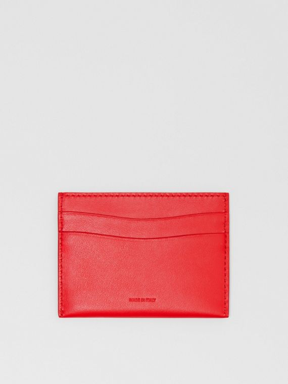 Quote Print Leather Card Case in Bright Military Red