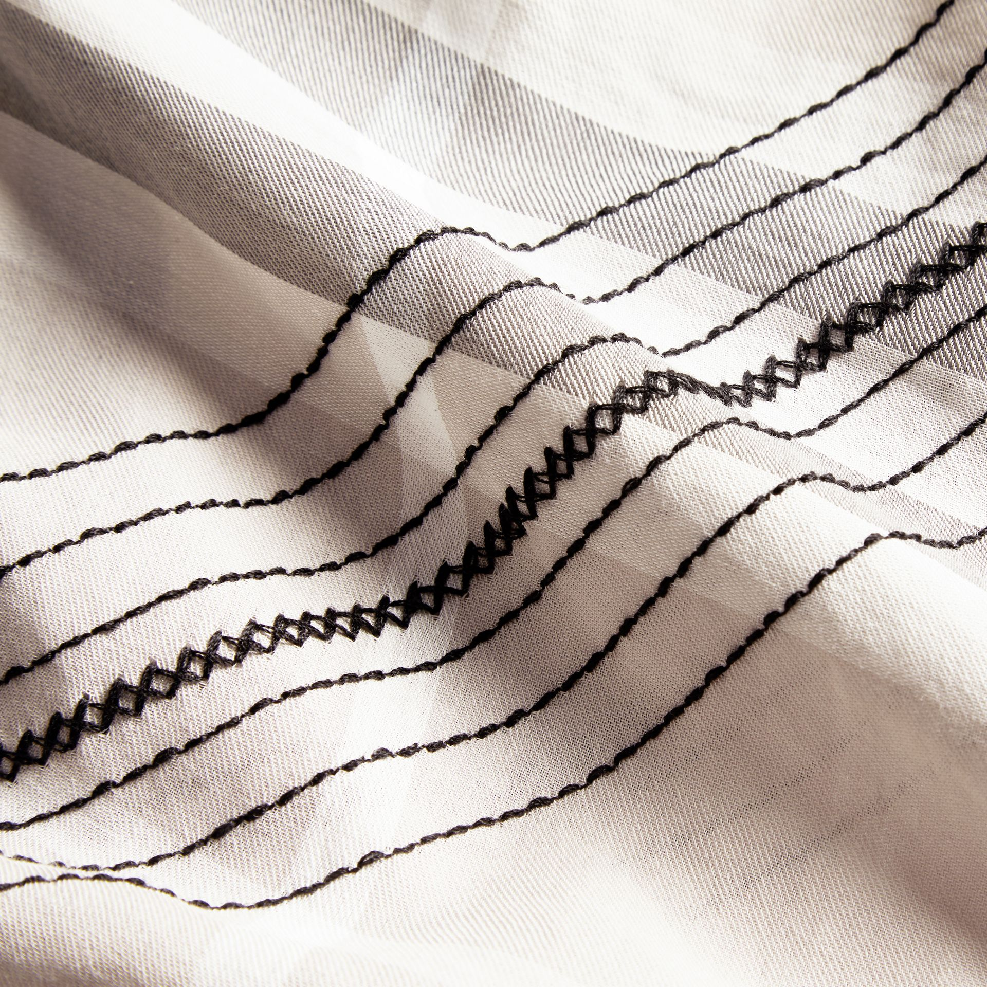 Grigio pallido Maglia a tunica in cotone con impunture e motivo tartan Grigio Pallido - immagine della galleria 2