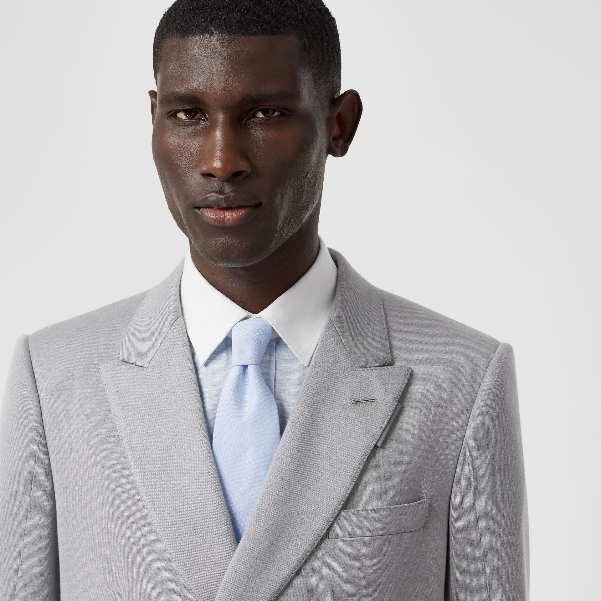 Classic Cut Cotton Tie in Pale Blue | Burberry - gallery image 2