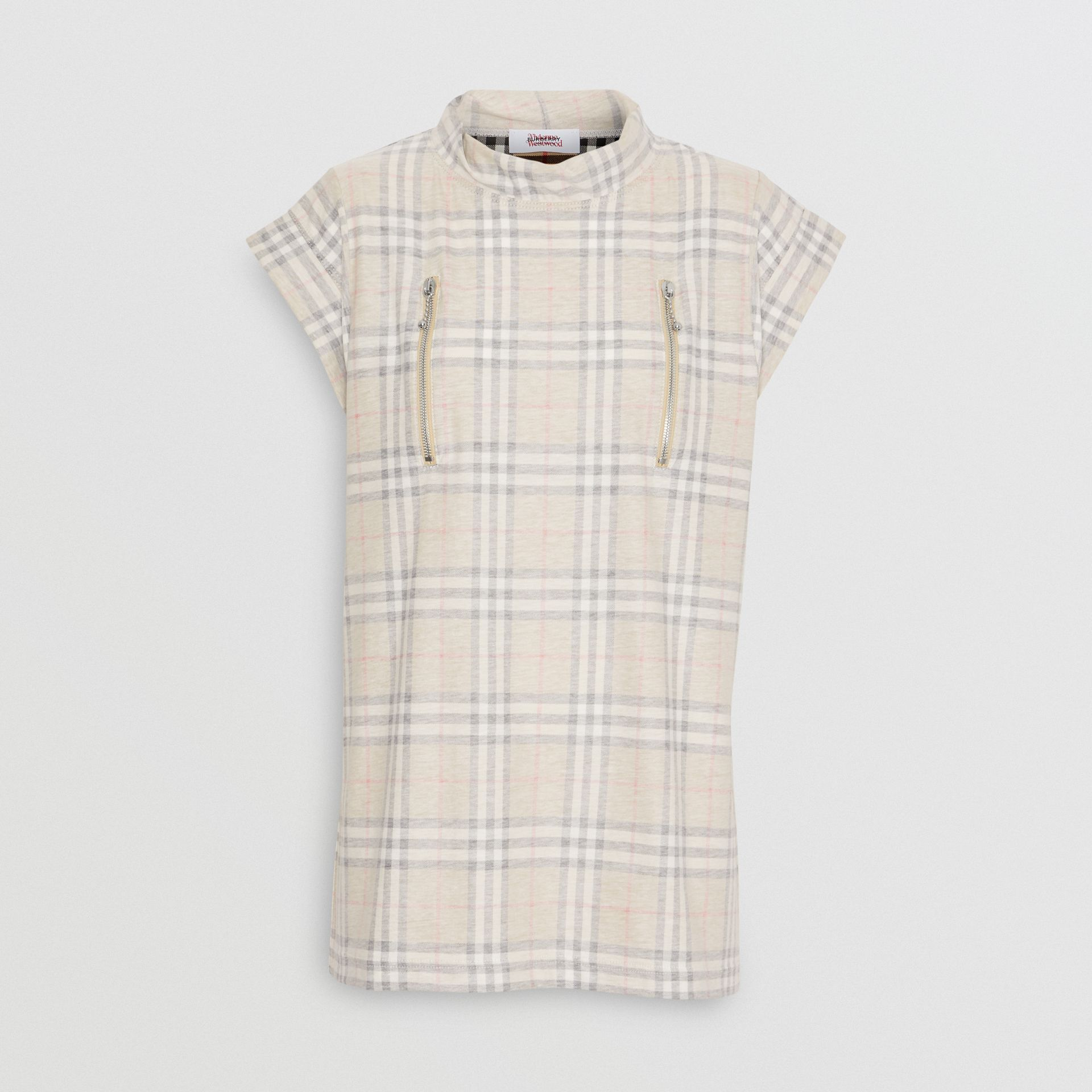 Zip Detail Vintage Check Cotton T-shirt in Antique Yellow - Women | Burberry - gallery image 8