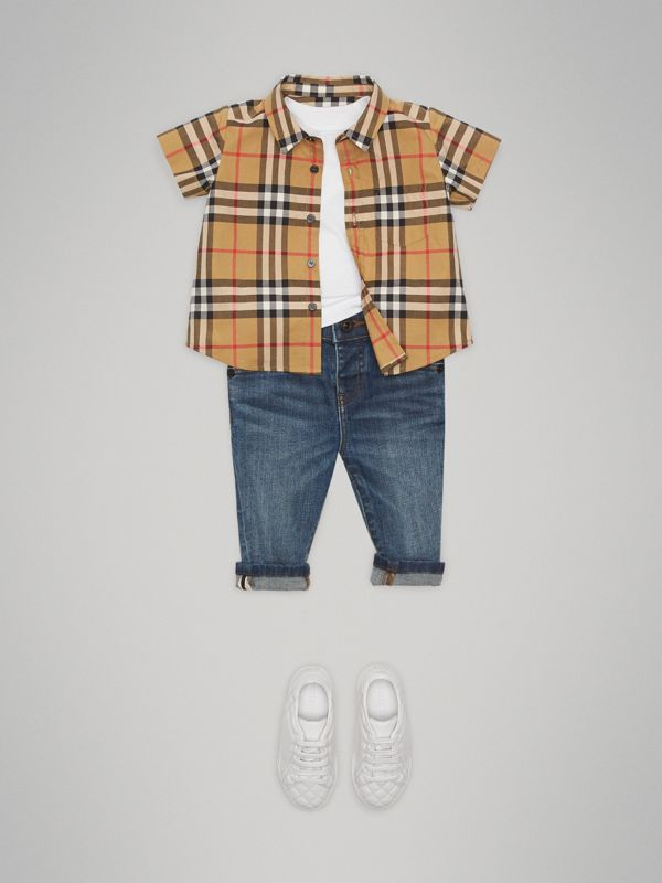 Short-sleeve Vintage Check Cotton Shirt in Antique Yellow - Children | Burberry Hong Kong - cell image 2