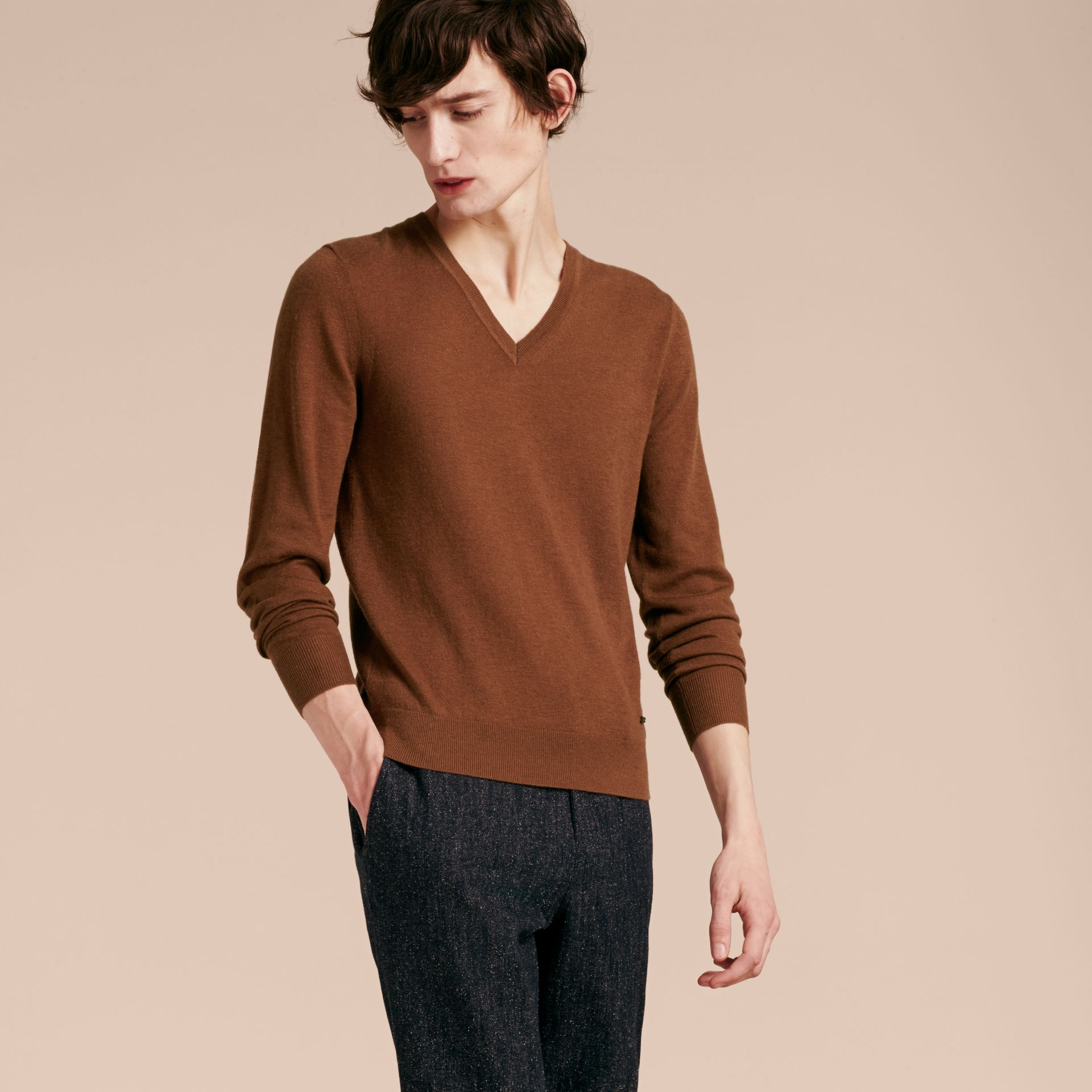 Dark camel Cashmere V-neck Sweater Dark Camel - gallery image 6