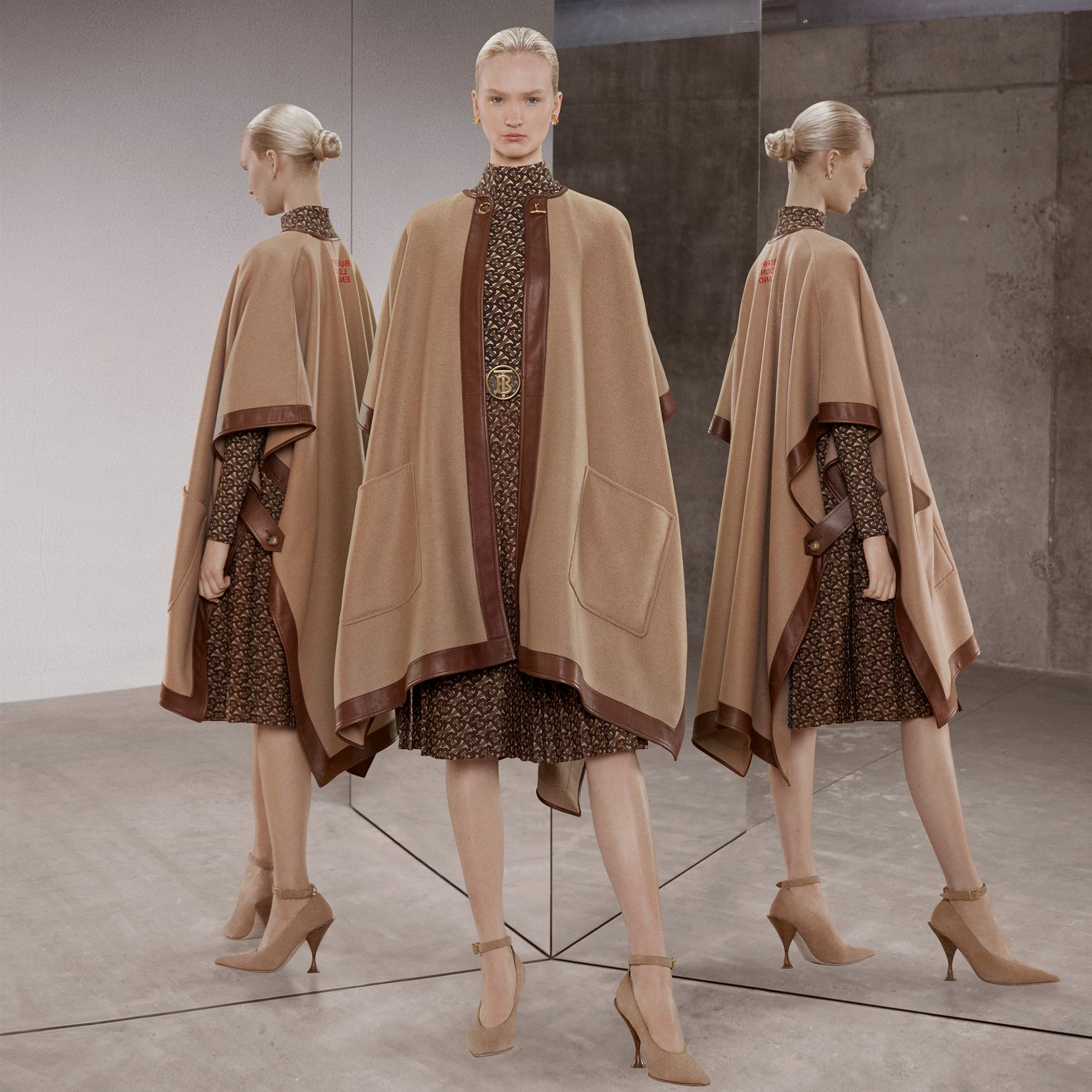 Lambskin Trim Double-faced Cashmere Cape in Camel | Burberry United Kingdom - gallery image 13