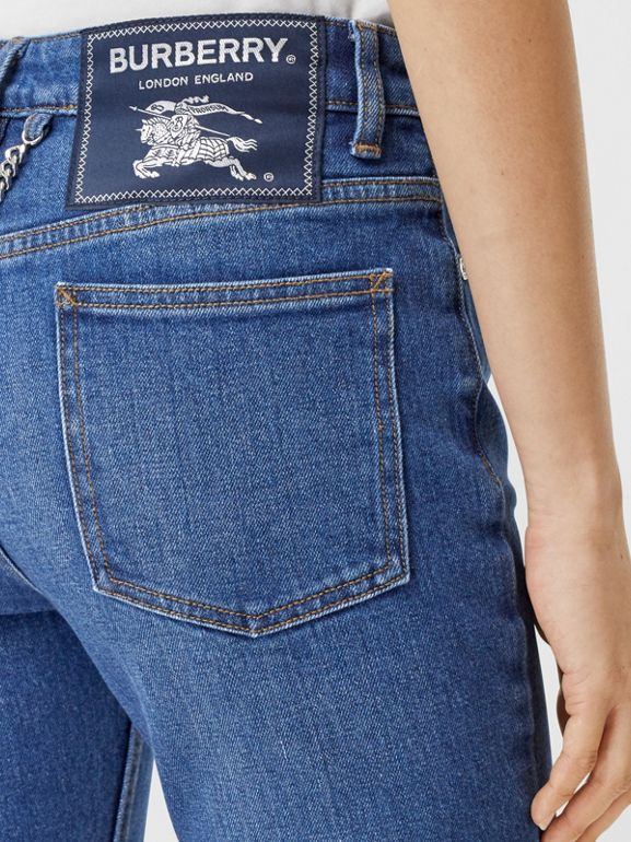 Straight Fit Japanese Stretch Denim Jeans in Indigo - Women | Burberry Hong Kong S.A.R - cell image 1