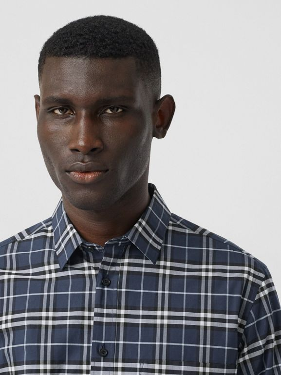 Small Scale Check Stretch Cotton Shirt in Dark Navy - Men | Burberry - cell image 1