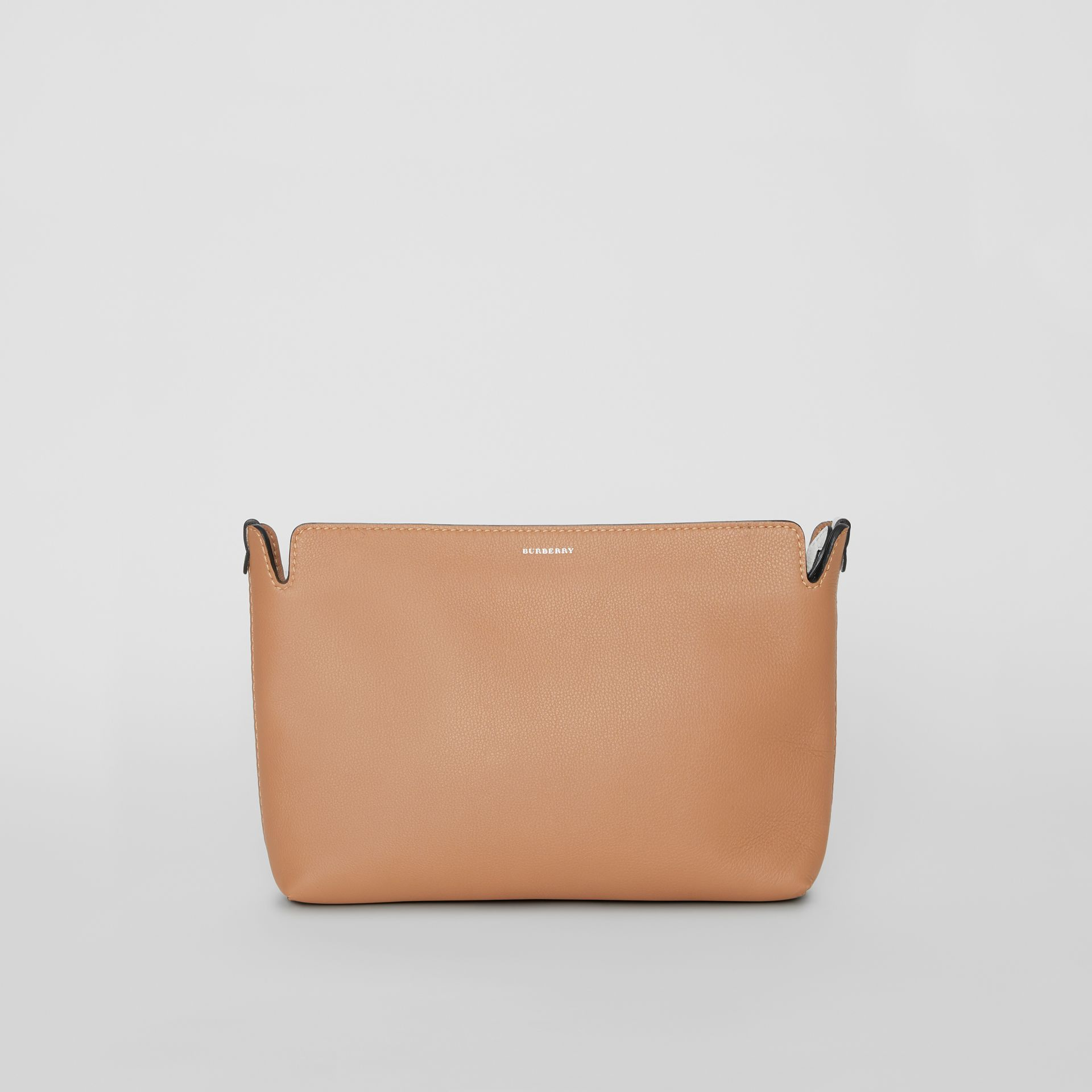 Medium Two-tone Leather Clutch in Light Camel/chalk White - Women | Burberry United States - gallery image 0