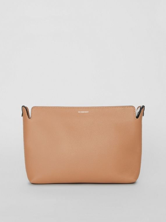 Medium Two-tone Leather Clutch in Light Camel/chalk White