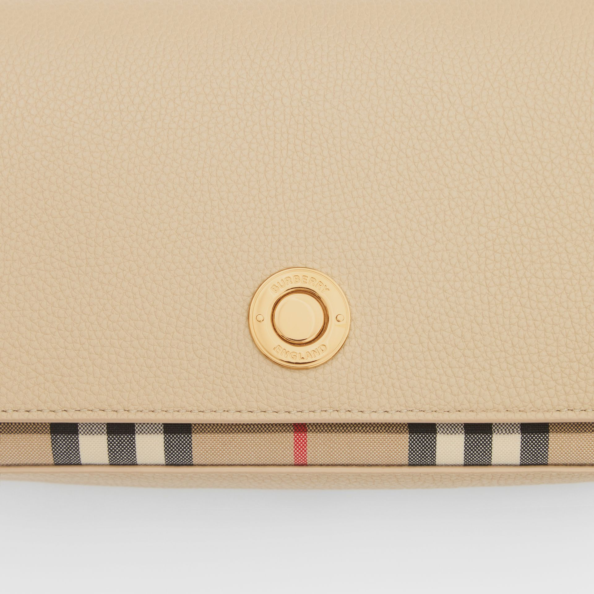 Small Leather and Vintage Check Crossbody Bag in Light Beige - Women | Burberry United Kingdom - gallery image 1