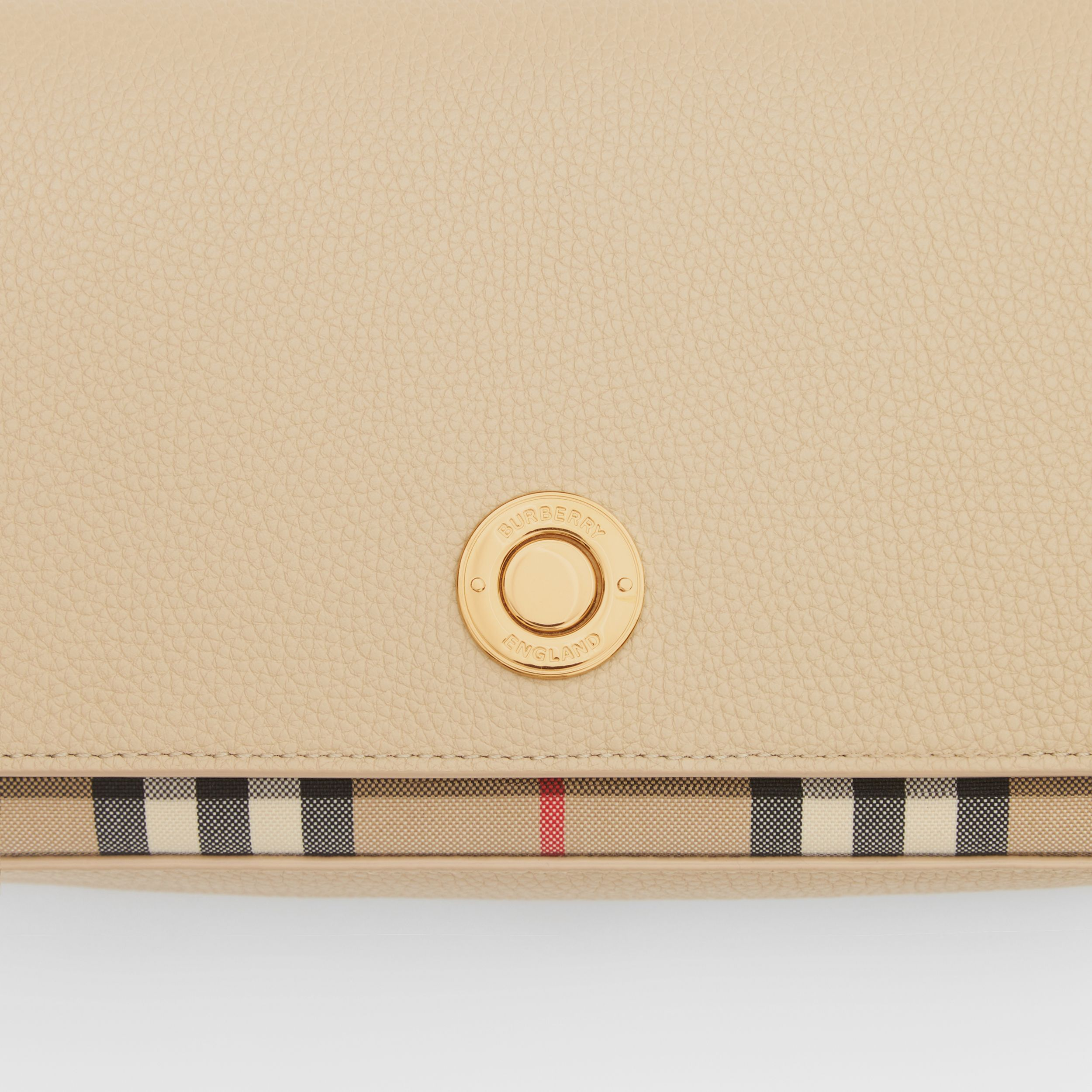 Small Leather and Vintage Check Crossbody Bag in Light Beige - Women | Burberry - 2