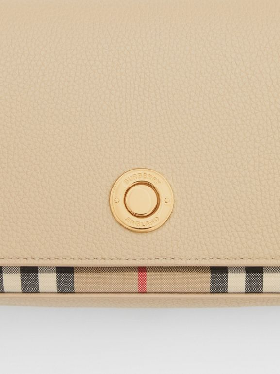 Small Leather and Vintage Check Crossbody Bag in Light Beige - Women | Burberry United Kingdom - cell image 1