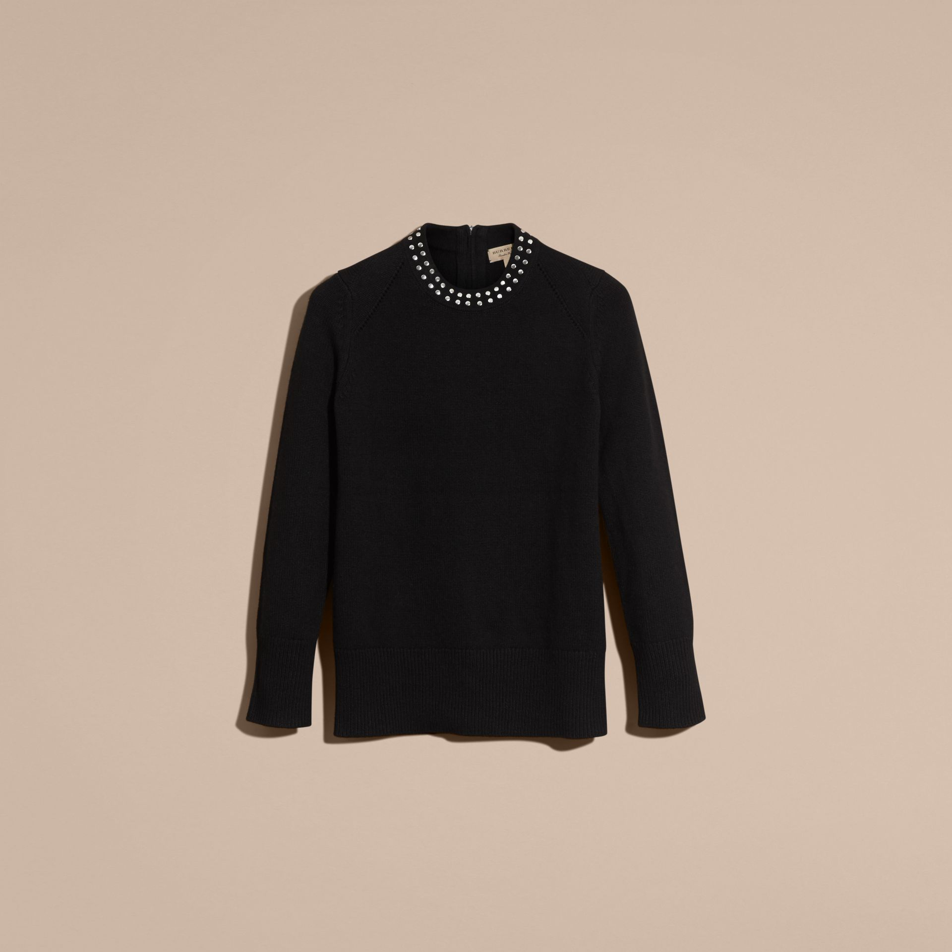 Black Studded Cashmere Cotton Sweater - gallery image 4