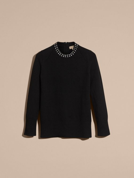Black Studded Cashmere Cotton Sweater - cell image 3