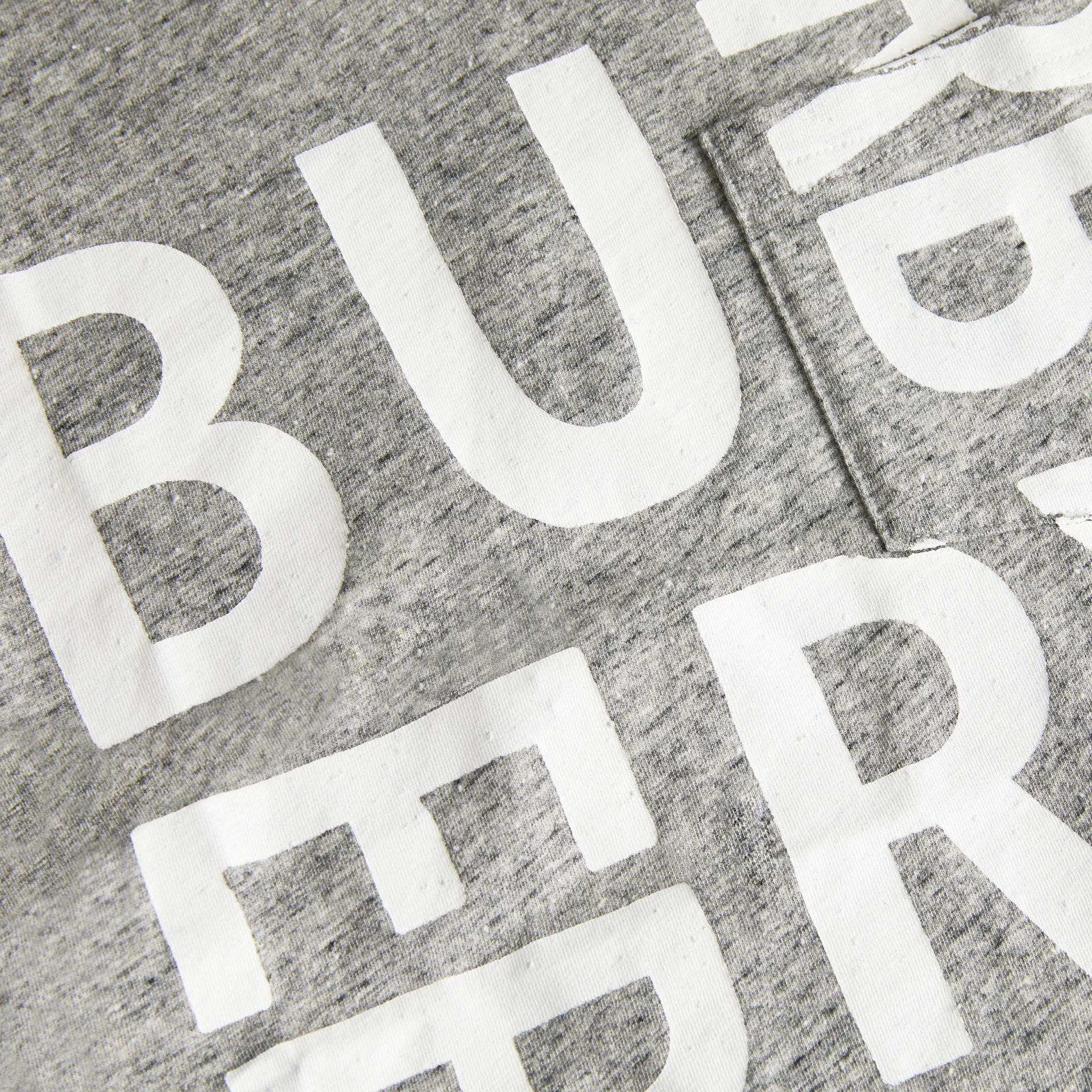 Logo Print Cotton Blend T-shirt in Grey Melange | Burberry United Kingdom - gallery image 1