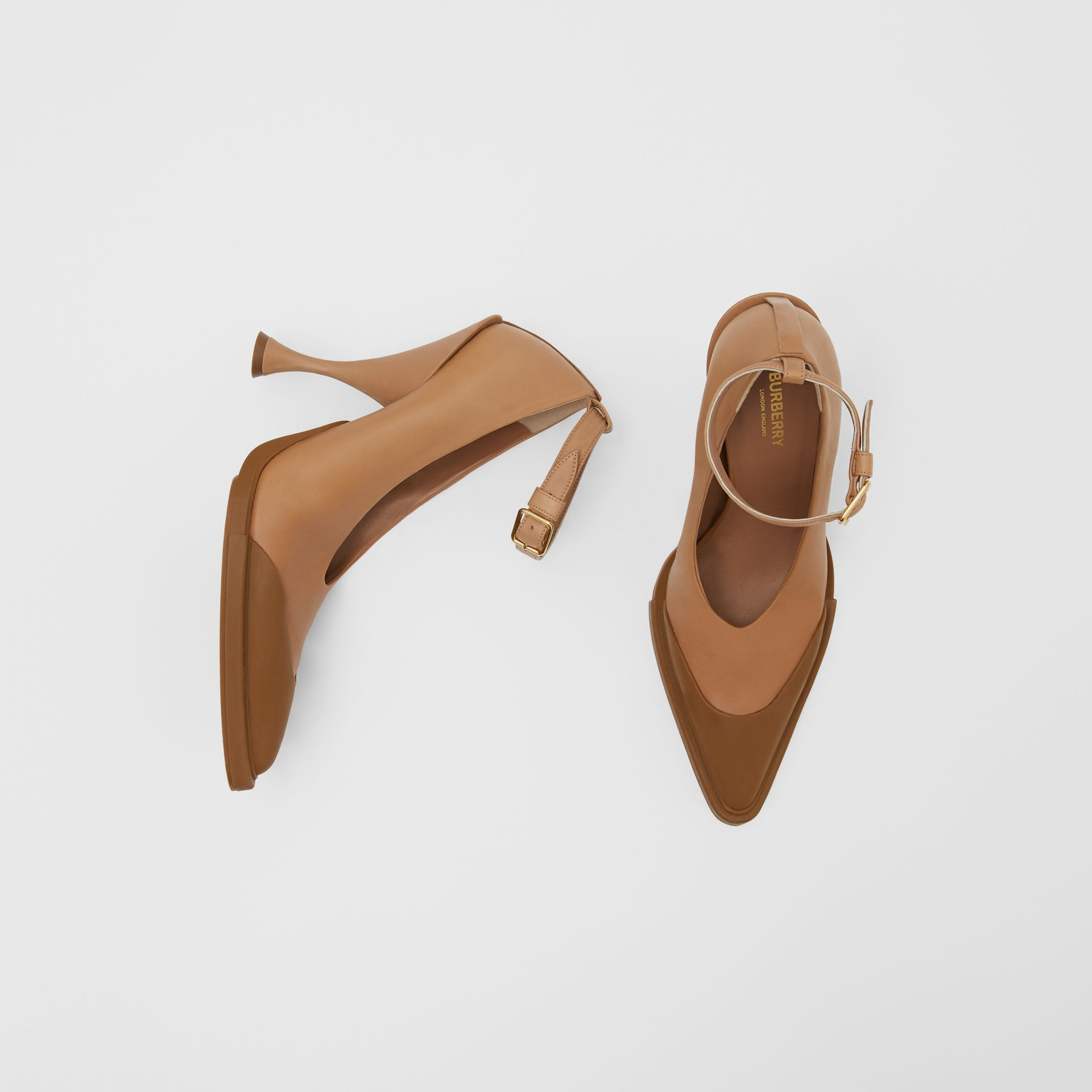 Toe Cap Detail Leather Point-toe Pumps in Soft Camel - Women | Burberry - gallery image 0