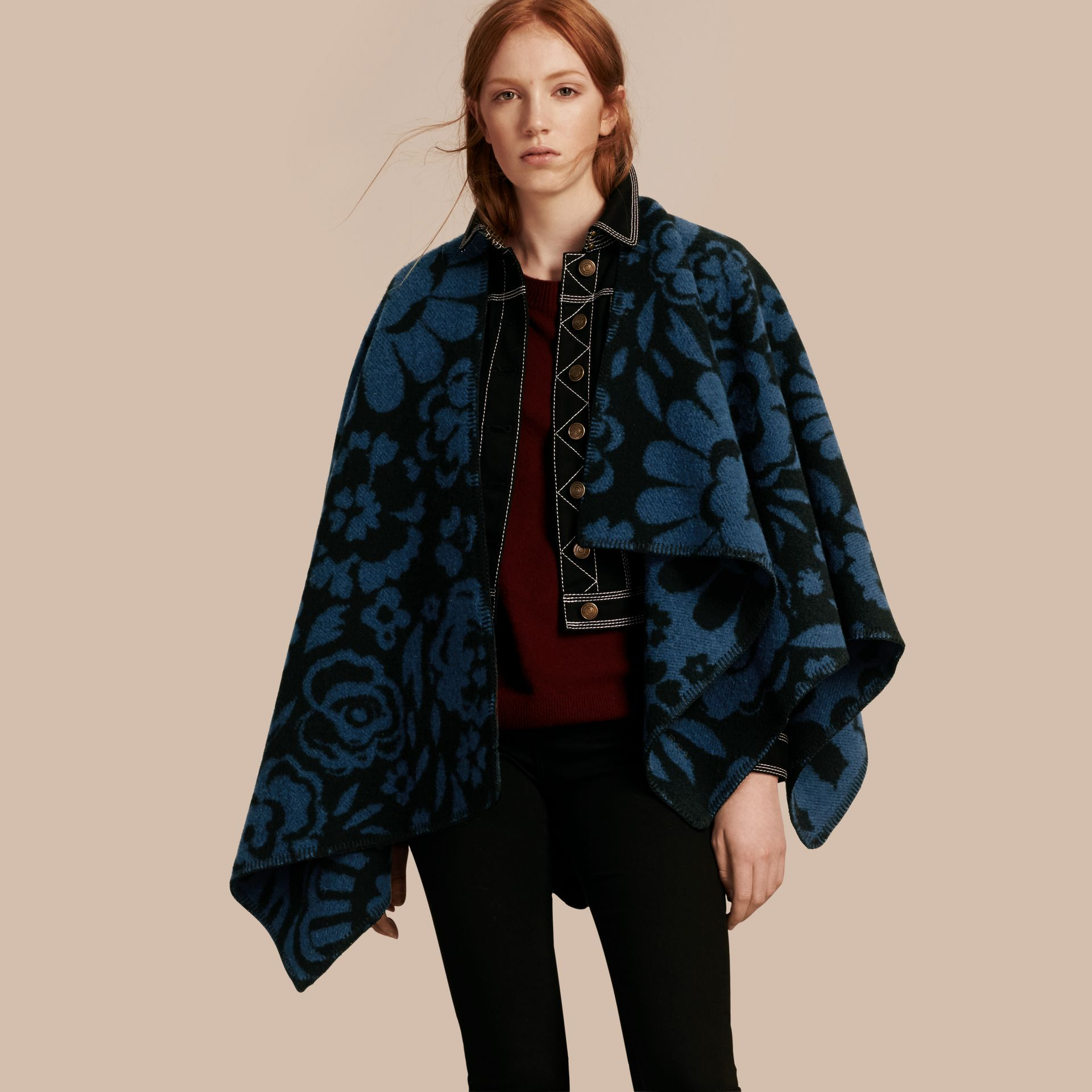 Marine blue Floral Jacquard Wool Cashmere Poncho - gallery image 1