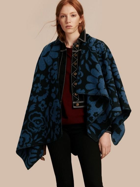 Floral Jacquard Wool Cashmere Poncho Marine Blue