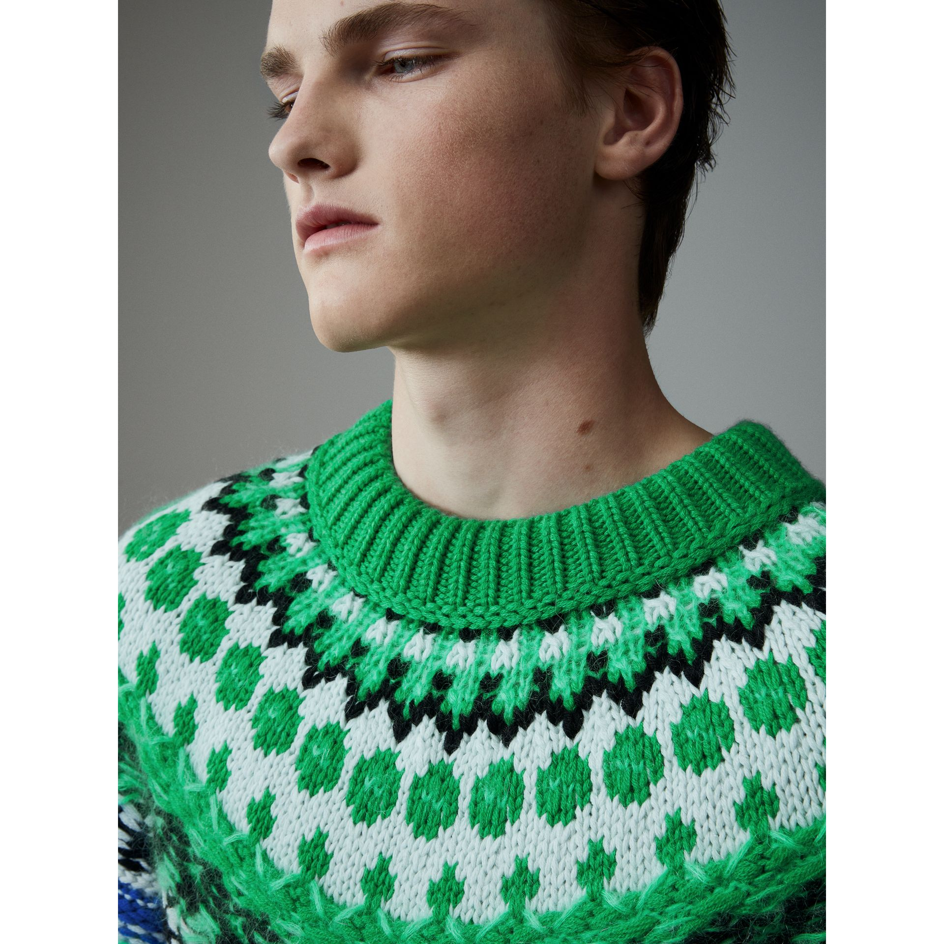 Multi-knit Cashmere Wool Mohair Mouliné Sweater in Bright Turquoise Green - Men | Burberry United Kingdom - gallery image 1